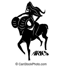 Aries - Elegant zodiac signs silhouettes isolated on white