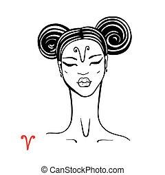 Aries. Zodiac Beautiful fashion girl.