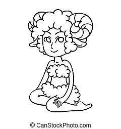 Aries. Zodiac girl. Horoscope symbol.