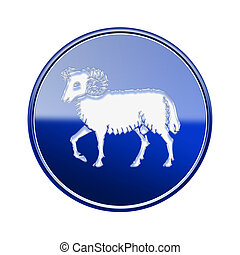 Aries zodiac icon blue, isolated on white background