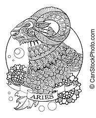 Aries zodiac sign coloring book vector illustration. Tattoo...