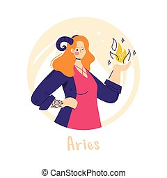 Aries zodiac sign. Fire. Female character and element of ancient astrology.