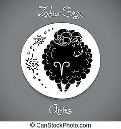 Aries zodiac sign of horoscope circle emblem in cartoon style.