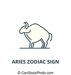 Aries zodiac sign vector line icon, linear concept, outline sign, symbol