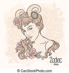 aries, zodiac., vector