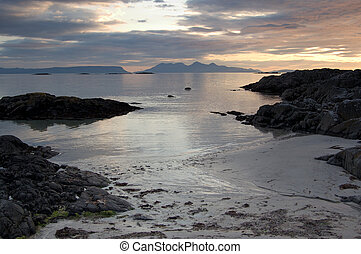 Arisaig beach with Inner Hebrides in distance