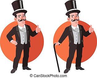 aristócrata, plano, viejo, caricatura