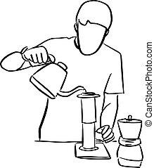 arista, café, blanc, vecteur, griffonnage, isolé, fond, illustration, croquis, filtre, noir, main, verser, moderne, par, frais, café, dessiné, lignes