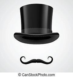 aristocraat, hoge hoed, victoriaans, moustaches