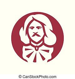 aristocraat, hoofd, teken.
