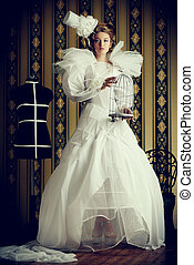 aristocracy concept - Beautiful fashion model in the refined...
