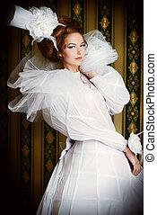aristocracy - Beautiful fashion model in the refined white...