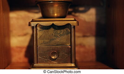 Aristocratic coffee grinder mill with stylish clipping path...