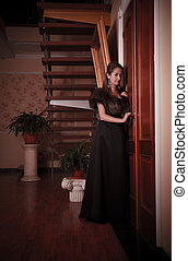 lady eavesdropping near closed door - aristocratic lady...