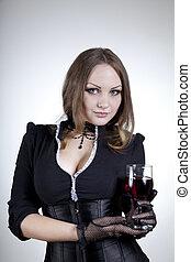 aristokratický, manželka, s, mikroskop k víno