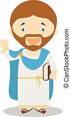 Aristotle cartoon character. Vector Illustration.