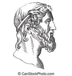 Aristotle - Ancient style engraving portrait of Aristotle,...