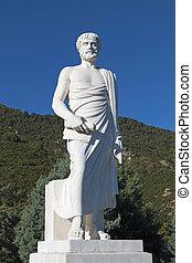 aristotle, statue, dans, grèce