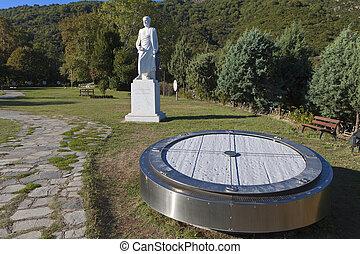 Aristotle statue in Greece - Aristotle statue located at...