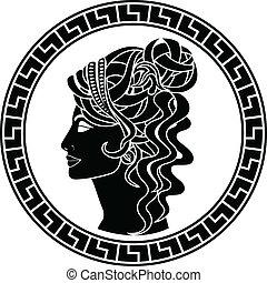 arisztokrata, stencil, nő