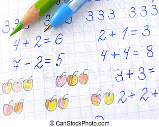 arithmetic lesson - open arithmetic exercise book...
