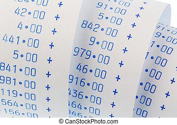 aritmética, tira, de, calculadora