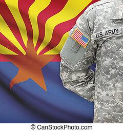arizona, -, állam, bennünket, katona, lobogó, háttér, amerikai
