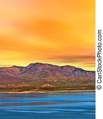 arizona , λίμνη , ανατολή