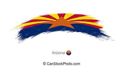 arizona, arrondi, drapeau, brosse, grunge, stroke.