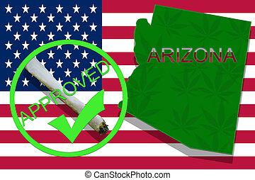 arizona, auf, cannabis, hintergrund., droge, policy., legalization, von, marihuana, auf, usa markierung