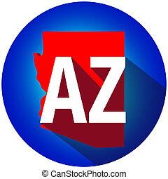 Arizona AZ Letters Abbreviation Red 3d State Map Long Shadow Circle