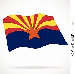 arizona az state flag flying vector