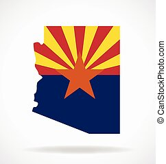 arizona az state flag map vector