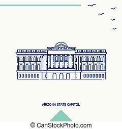arizona, capitol, estado, ilustração, skyline, vetorial