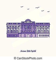 arizona, capitol, pontilhado, roxo, estado, ilustração, skyline, vetorial, marco, linha