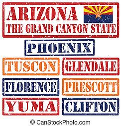 arizona, cidades, selos