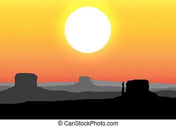 arizona, ciel, contre, coucher soleil, vallée monument, rouges