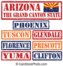 Arizona Cities stamps - Set of Arizonacities stamps on white...