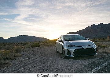 arizona, coucher soleil, route