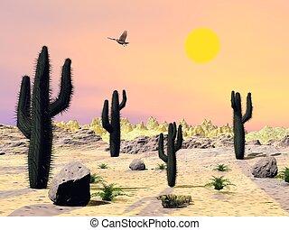 arizona, -, désert, render, 3d