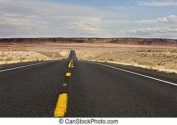 Arizona desert highway in winter