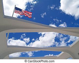arizona, drapeau usa, par, toit, ouvert