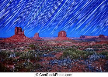 arizona, estrela, eua, imagem, rastro, luz dia, vale monumento