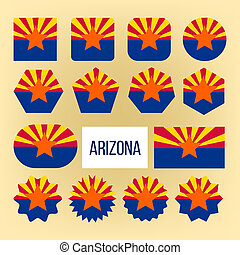 Arizona Flag Collection Figure Icons Set