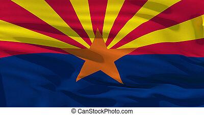 Arizona flag on silk texture, United States of America. 3d illustration