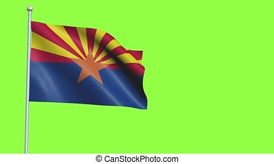 Arizona Flag in 3D render with green screen background in Slow Motion