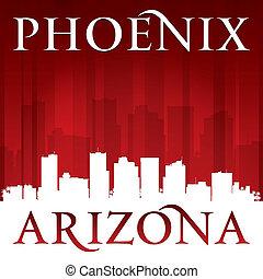 arizona, fond, horizon, phénix, ville, rouges, silhouette