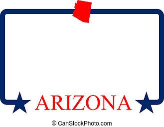 Arizona state map, frame, and name.