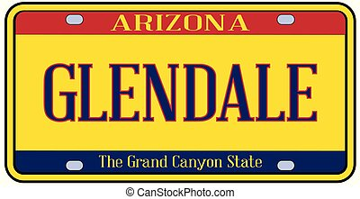 Arizona Glendale State License Plate - Glendale Arizona...