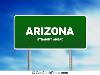 Arizona Green Highway Sign - High resolution graphic of a...